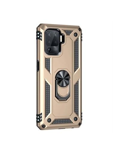 Microsonic Oppo Reno 5 Lite Kılıf Military Ring Holder Gold Altın